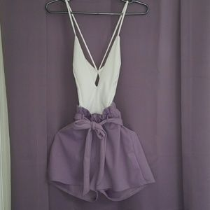 Lovely lilac and white romper!
